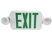 Maxlite LED Dual Head Exit/Emergency Sign with LED Lamp Heads, Battery Backup, Green Letters