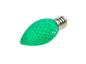 0.35W Green C7 Holiday LED Bulb with Faceted Lens, Outdoor Rated