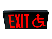 Exitronix Steel Exit Sign Featuring Wheelchair Accessibility Symbol, Black