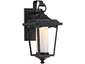 Satco Essex 11 Watt Dimmable Outdoor LED Wall Lantern with Etched Glass, Sterling Black