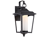 Satco Essex 14 Watt Dimmable Outdoor LED Wall Lantern with Etched Glass, Sterling Black