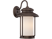 Satco Bethany 10 Watt LED Large Wall Lantern with Satin White Glass, Mahogany Bronze Finish
