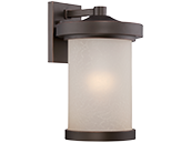 Satco Diego 10 Watt  LED Large Wall Lantern with Satin Amber Glass, Mahogany Bronze Finish