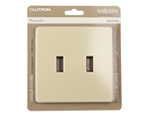 Lutron Fassada Screwless 2-Gang Wallplate, Ivory