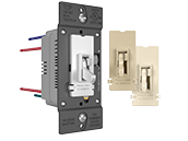 Pass & Seymour/Legrand TSD4FBL3PTC 0-10V Fluorescent/LED Slide Dimmer and Toggle On/Off Single Pole/3-Way Switch, Tri-Color