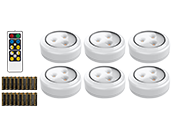 6-Pack LED Puck Lights, Wireless/Battery Operated With Remote and 18 AA Batteries