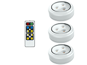 3-Pack LED Puck Lights, Wireless/Battery Operated With Remote