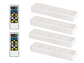 4-Pack LED White Undercabinet Wireless Battery Operated Light Fixtures with Two Remotes