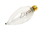 Bulbrite 60W 130V Clear Bent Tip Decorative Bulb, E12 Base