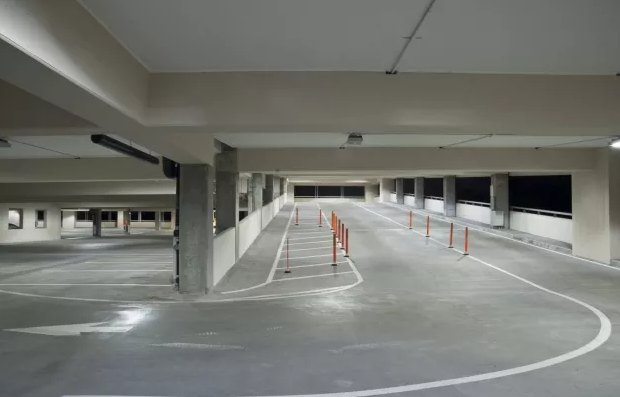 Uniform lighting within the garage interior reduces shadows and contrast increasing the visibility of pedestrians in order to achieve uniform lighting