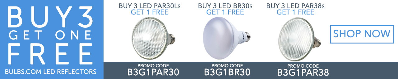 Buy 3, get 1 free for Bulbs.com brand LED reflectors. Follow link for details.