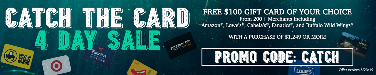 Free gift card with purchases $1249 and over - use promo code CATCH at checkout.