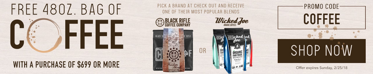 Free 48oz back of coffee with a purchase of $699 or more. Promo code COFFEE at checkout.