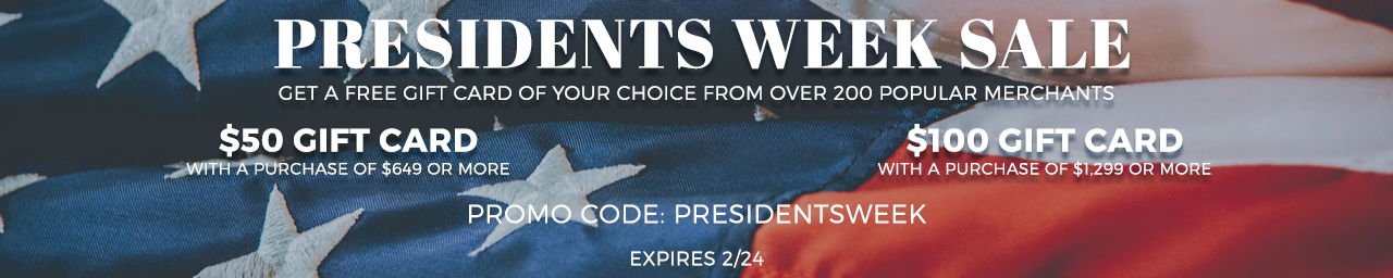 Get gift cards with qualifying orders. Use code PRESIDENTSWEEK at checkout