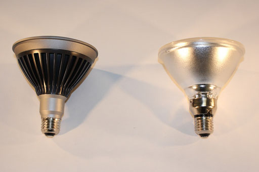 LED and Halogen bulbs side by side