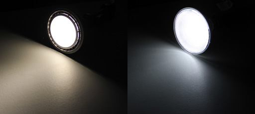 LED and Halogen bulbs side by side illuminated